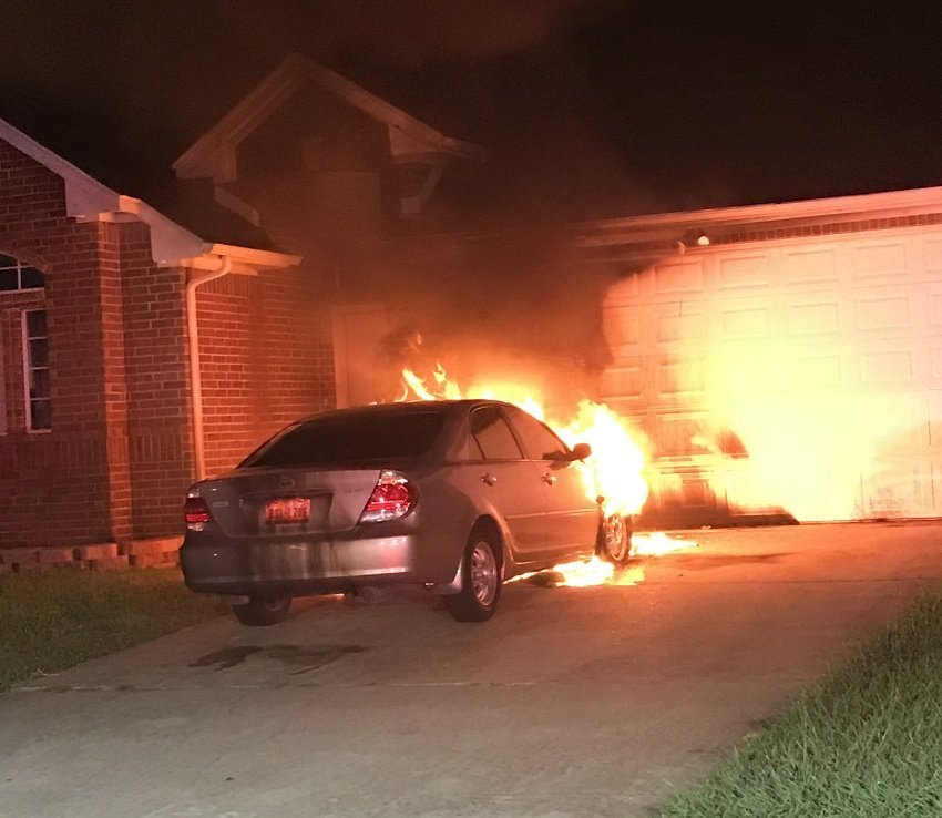 Car Fire In The Driveway